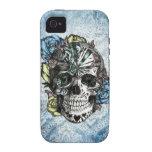 Cráneo del azúcar del caramelo del Grunge en amari iPhone 4 Carcasas