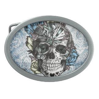 Cráneo del azúcar del caramelo del Grunge en amari Hebilla De Cinturon