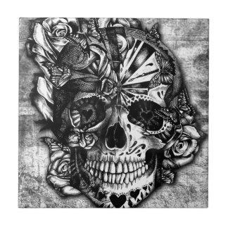 Cráneo del azúcar del caramelo del Grunge en blanc Azulejo Cuadrado Pequeño