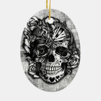 Cráneo del azúcar del caramelo del Grunge en blanc Adorno De Reyes