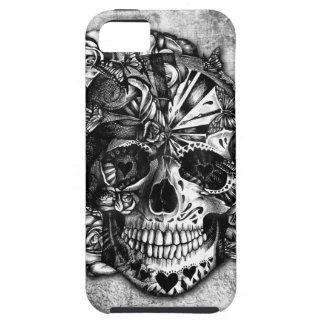 Cráneo del azúcar del caramelo del Grunge en blanc iPhone 5 Protectores