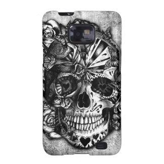 Cráneo del azúcar del caramelo del Grunge en blanc Samsung Galaxy S2 Fundas