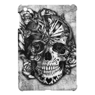 Cráneo del azúcar del caramelo del Grunge en blanc iPad Mini Cárcasa