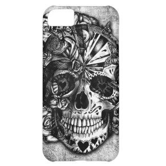 Cráneo del azúcar del caramelo del Grunge en blanc Funda Para iPhone 5C