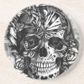 Cráneo del azúcar del caramelo del Grunge en blanc Posavasos Manualidades