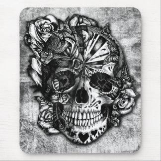 Cráneo del azúcar del caramelo del Grunge en blanc Tapetes De Ratón