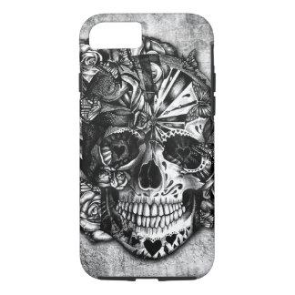 Cráneo del azúcar del caramelo del Grunge en Funda iPhone 7