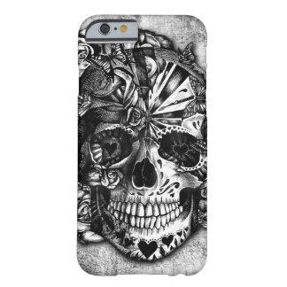 Cráneo del azúcar del caramelo del Grunge en Funda Para iPhone 6 Barely There