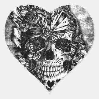Cráneo del azúcar del caramelo del Grunge en Pegatina Corazón Personalizadas