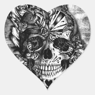 Cráneo del azúcar del caramelo del Grunge en Calcomanía Corazón Personalizadas