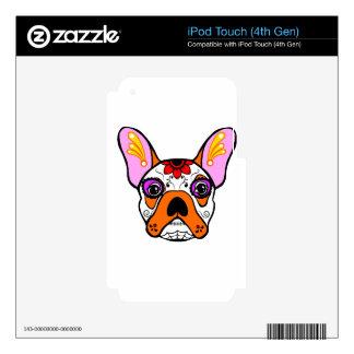 Cráneo del azúcar del dogo francés skins para iPod touch 4G