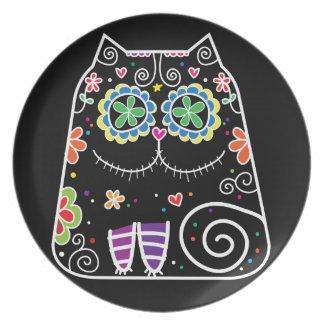 Cráneo del azúcar del gato negro platos para fiestas