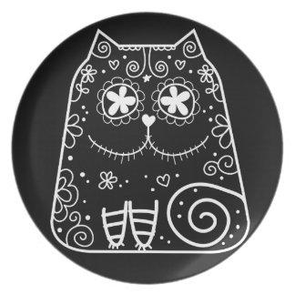 Cráneo del azúcar del gato negro plato de comida