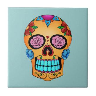 Cráneo del azúcar del tatuaje azulejo cuadrado pequeño