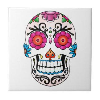 Cráneo del azúcar - día de los muertos, tatuaje, M Azulejo Cuadrado Pequeño