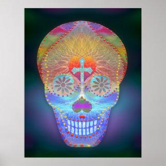 Cráneo del azúcar, día del arco iris de los póster