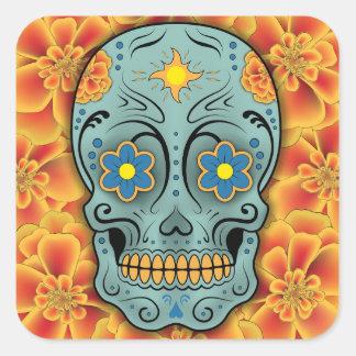 Cráneo del azúcar - día del muerto (maravilla) pegatina cuadrada
