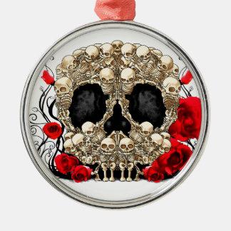 Cráneo del azúcar - diseño del tatuaje adorno navideño redondo de metal