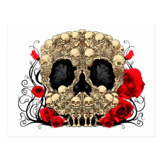 Cráneo del azúcar - diseño del tatuaje postal