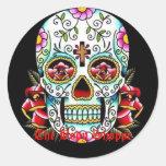 cráneo del azúcar, el Shoppe del cuerpo Pegatina Redonda