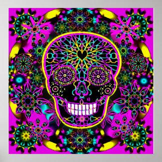 Cráneo del azúcar en el rosa de neón póster