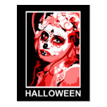 cráneo del azúcar: Halloween Postal