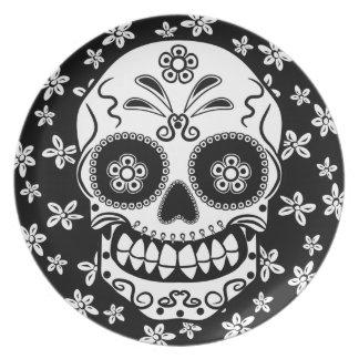 Cráneo del azúcar plato de cena