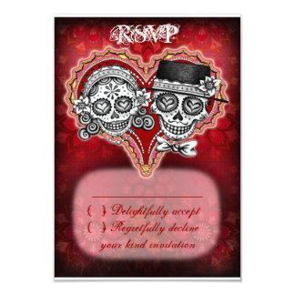 Cráneo del azúcar que casa las tarjetas de RSVP - Invitación 8,9 X 12,7 Cm