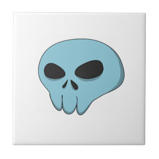 cráneo del azul del dibujo animado azulejo cuadrado pequeño