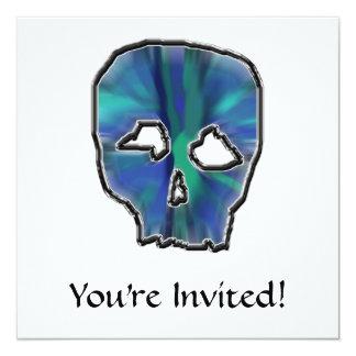 Cráneo del azul y de la turquesa invitación 13,3 cm x 13,3cm
