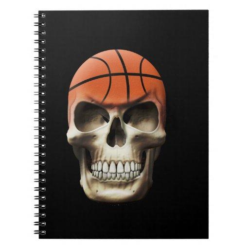 Cráneo del baloncesto libro de apuntes con espiral