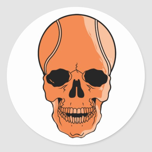 Cráneo del baloncesto pegatina