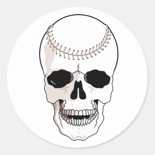 Cráneo del béisbol pegatina redonda
