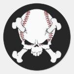 Cráneo del béisbol pegatinas redondas