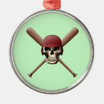 Cráneo del béisbol y palos cruzados adorno