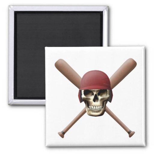 Cráneo del béisbol y palos cruzados iman