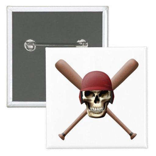 Cráneo del béisbol y palos cruzados pin