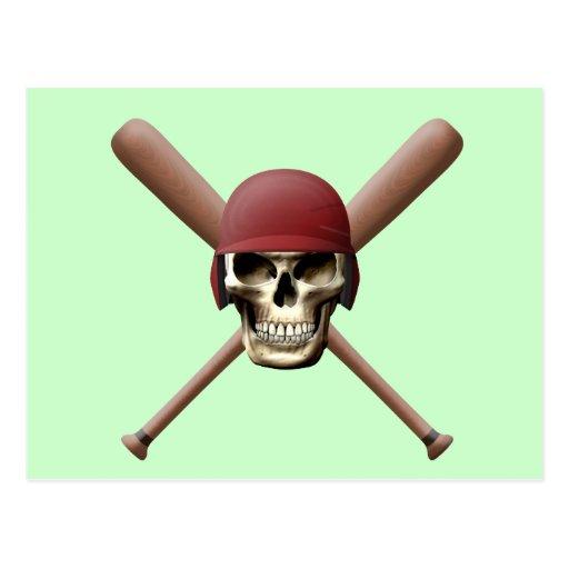 Cráneo del béisbol y palos cruzados postales