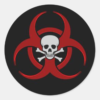Cráneo del Biohazard Pegatina Redonda