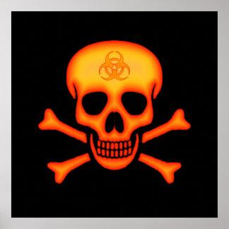 Cráneo del Biohazard y poster de la bandera pirata