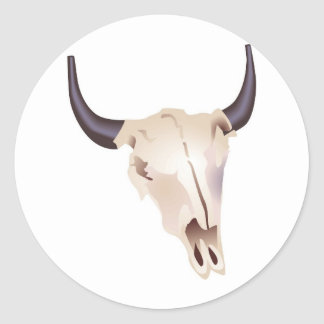 Cráneo del bisonte del oeste salvaje pegatina redonda