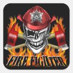 Cráneo del bombero: Guiño Pegatinas Cuadradas