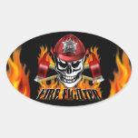 Cráneo del bombero pegatinas oval personalizadas