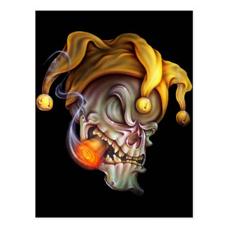 Cráneo del bufón que fuma tarjeta postal