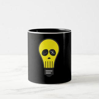 Cráneo del bulbo (color) taza de café de dos colores