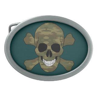 Cráneo del camuflaje y hebilla del cinturón de la hebilla de cinturón oval