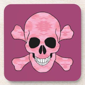 Cráneo del camuflaje y prácticos de costa rosados posavaso