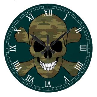 Cráneo del camuflaje y reloj del número romano de