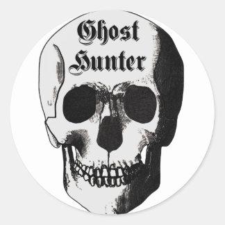 Cráneo del cazador del fantasma pegatina redonda