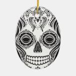 Cráneo del chica de Dia de los Muertos That Adorno Navideño Ovalado De Cerámica